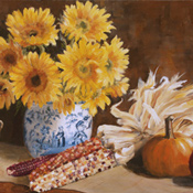 Sunflowers in Autumn  Still Life